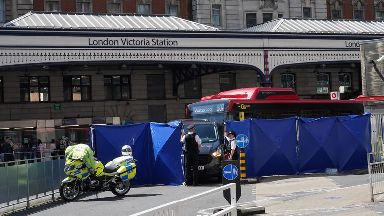 The buses crashed outside Victoria train station
