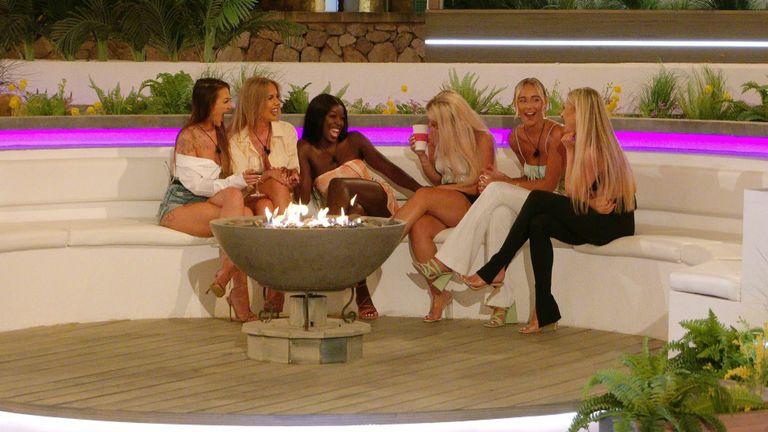 Love Island' TV show, Series 7, Episode 28, Majorca, Spain - 29 Jul 2021 Abigail Rawlings, Faye Winter, Kaz Kamwi, Liberty Poole, Millie Court and Chloe Burrows  29 Jul 2021