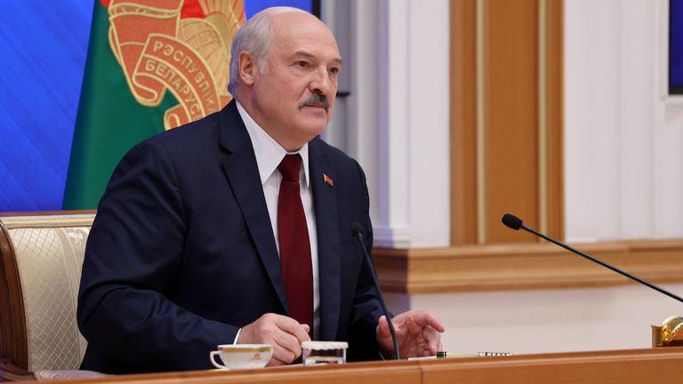 Belarusian President Alexander Lukashenko at Monday's news conference. Pic: Maxim Guchek/BelTA/Reuters