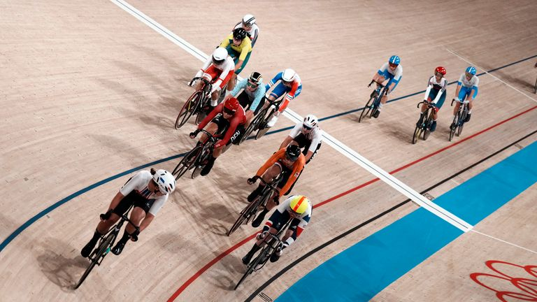 Athletes compete during the track cycling women's madison race. Pic: AP