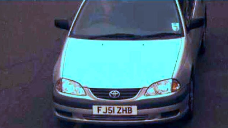 A CCTV image of Mark Barrott's silver Toyota Avensis, registration FJ51 ZHB, which is still believed to be in Leeds