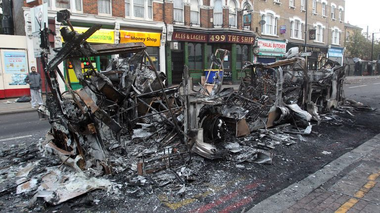 The remains of a burned out bus in Tottenham, north London