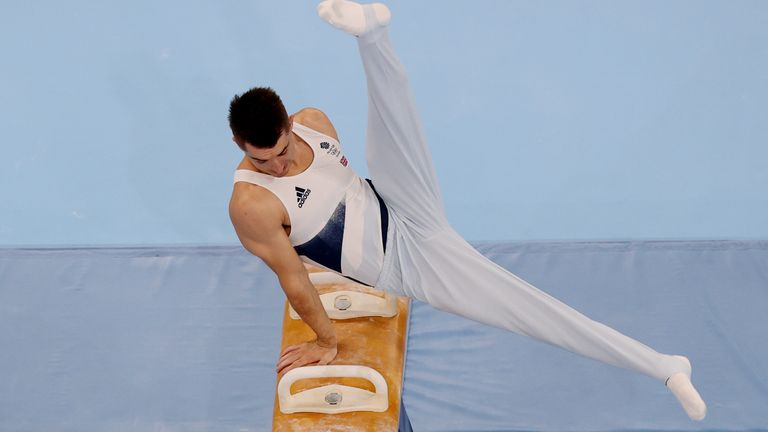 Max Whitlock competes in the men's pommel horse