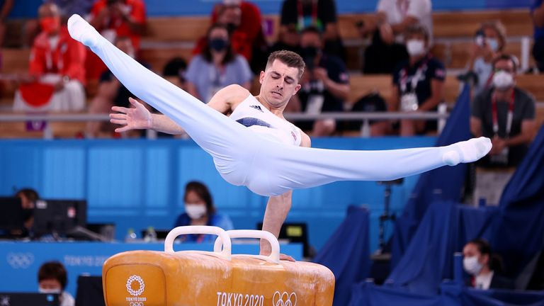 Max Whitlock competes in the men's pommel horse in Tokyo