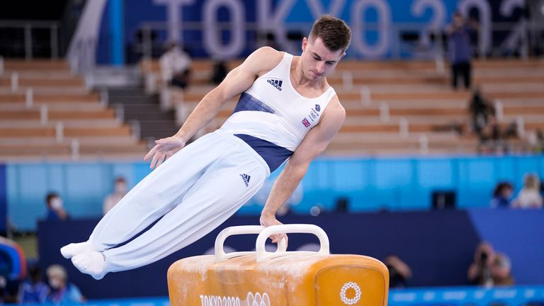 Max Whitlock competes in the men's pommel horse final