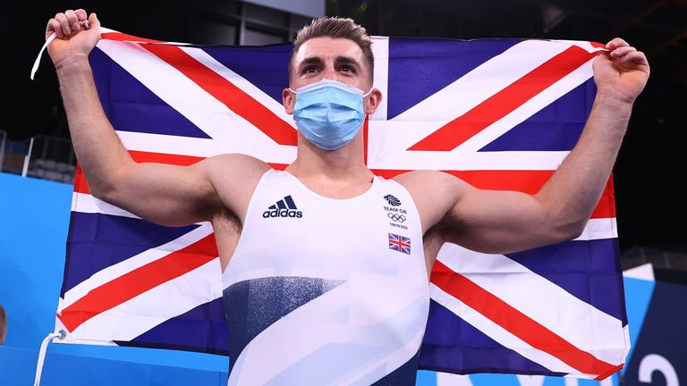 Max Whitlock celebrates his Olympic gold in Tokyo
