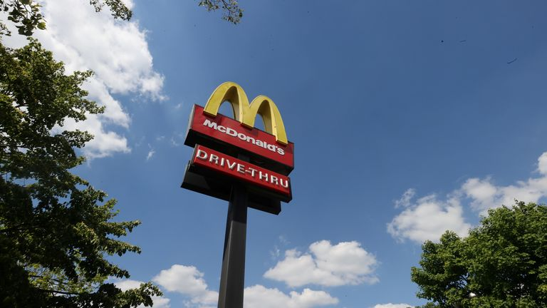 FILE PHOTO: General view of a McDonald's sign in Stoke-on-Trent FILE PHOTO: General view of a McDonald's sign, Stoke-on-Trent, Britain, June 1, 2020. REUTERS/Carl Recine/File Photo