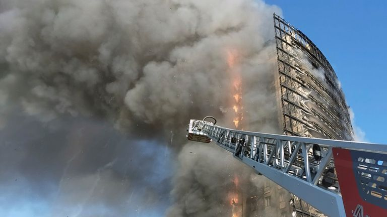 Smoke billows from a building on fire in Milan, Italy (Pic: Vigili del Fuoco)