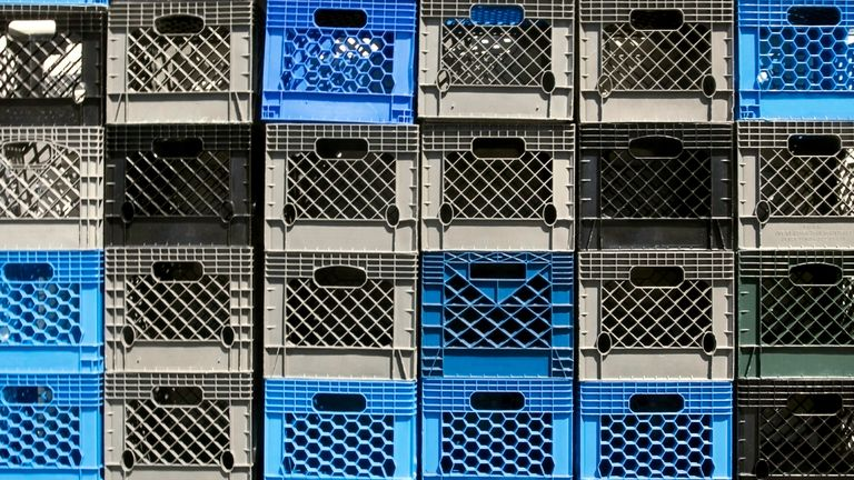 Milk crates of the type often used in the viral 'milk crate challenge'