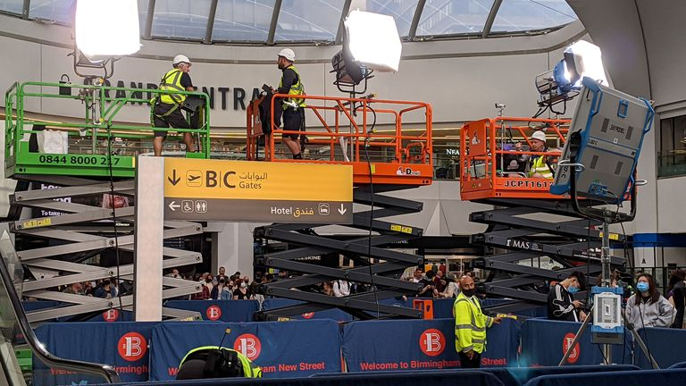 Filming has taken place in Birmingham's Grand Central New Street station