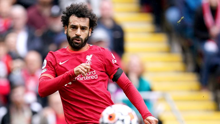 Liverpool's Mohamed Salah scores a goal before it is disallowed for offside during the Premier League match at Anfield