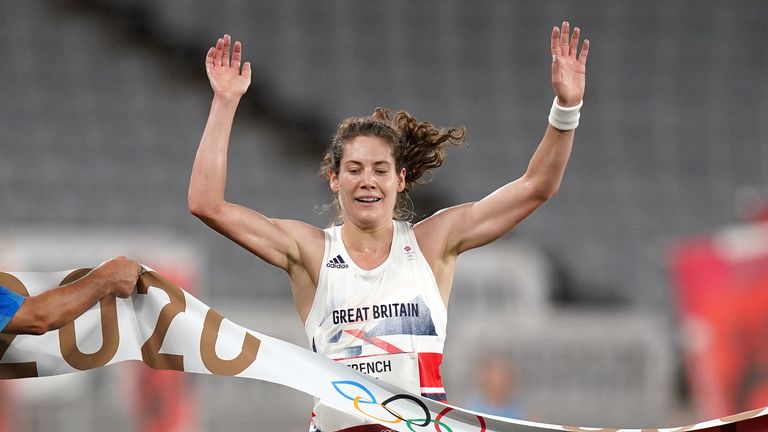 Kate French wins gold during the modern pentathlon