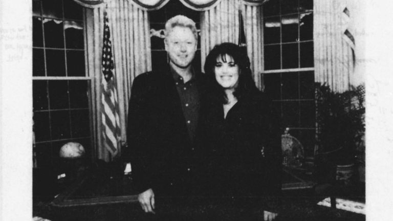 President Bill Clinton is shown with former White House intern Monica Lewinsky in a photo from evidence gathered by Independent Counsel Kenneth Starr in the sex scandal investigation