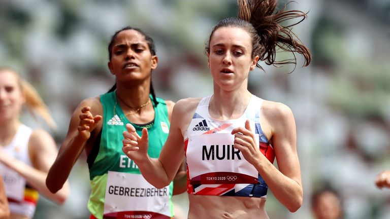 Tokyo 2020 Olympics - Athletics - Women's 1500m - Round 1- OLS - Olympic Stadium, Tokyo, Japan - August 2, 2021. Laura Muir of Britain in action during competing REUTERS/Lucy Nicholson
