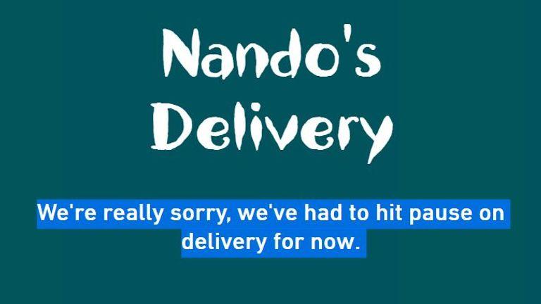 Nando's website delivery suspended