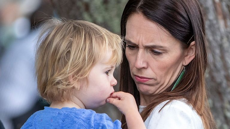Jacinda Ardern, New Zealand Prime Minister, carries her daughter Neve after the dawn service on Waitangi Day in Waitangi, New Zealand, 06 February 2020.  Pic: David Rowland/EPA-EFE/Shutterstock