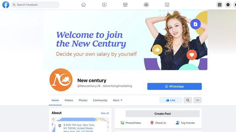 New Century's page on Facebook was removed after Sky News flagged it to the company