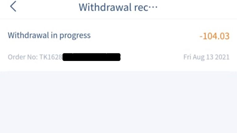 Users who attempt to withdraw a significant amount of their funds complain these withdrawals are frozen 'in progress' indefinitely