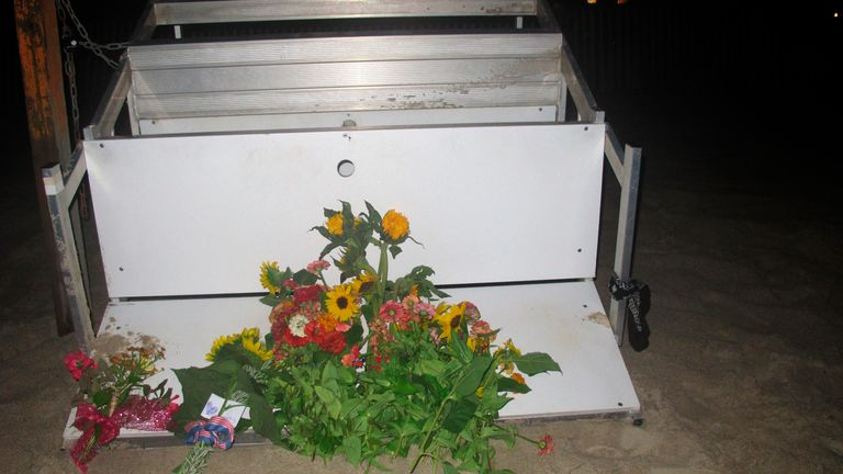Flowers were left on the edge of an overturned lifeguard stand in New Jersey. Pic AP