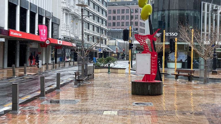 Lambton Quay was devoid of people on the first day of lockdown in Wellington, 18 August