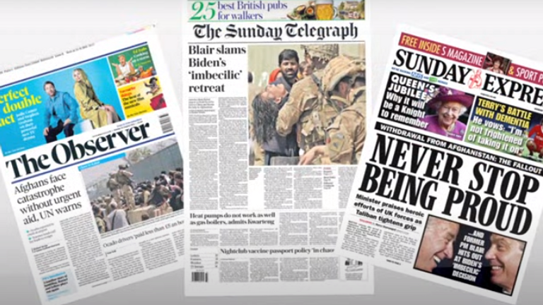 Sunday's newspaper front pages
