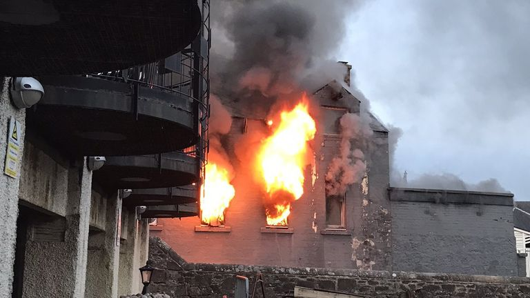 Flames ripped through the restaurant in Stirling, Scotland, on Saturday night
