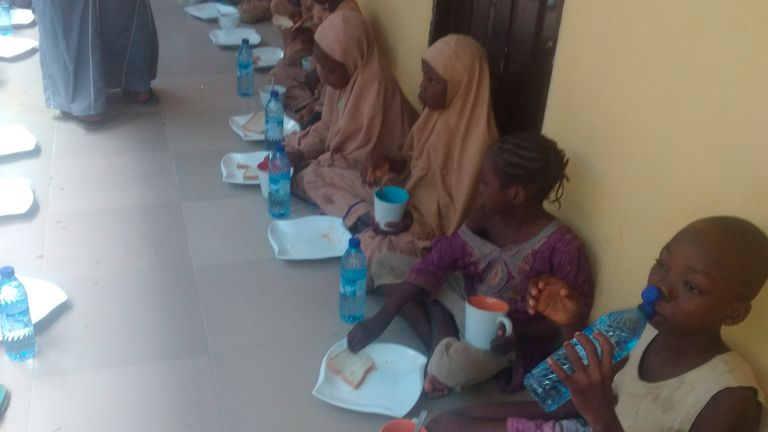 Some freed students having their breakfast. Pic: AP