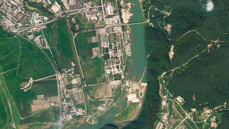 An aerial view of North Korea's main nuclear complex in Yongbyon. Pic: Planet Labs Inc/ AP