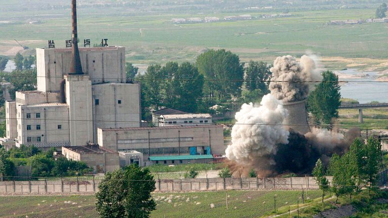 The Yongbyon nuclear complex is pictured as its cooling tower is demolished in 2008. Pic: AP
