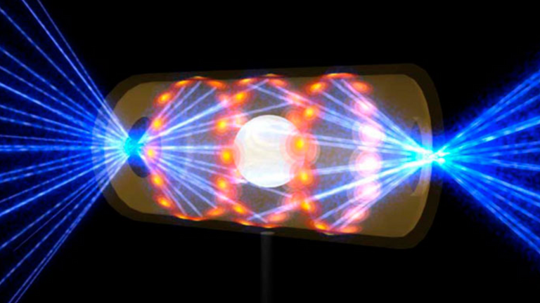 This artist's rendering shows a NIF target pellet inside a hohlraum capsule with laser beams entering through openings on either end. The beams compress and heat the target to the necessary conditions for nuclear fusion to occur. Ignition experiments on NIF are the result of more than 50 years of inertial confinement fusion research and development, opening the door to exploration of previously inaccessible physical regimes.