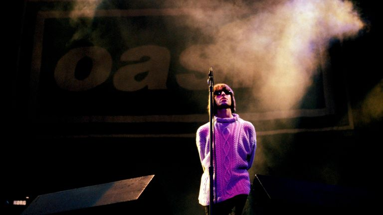 Liam Gallagher of Oasis on stage at Knebworth in 1996. Pic: Roberta Parkin/Redferns
