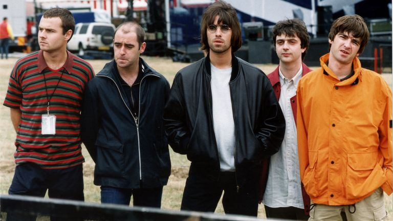 Oasis before their performance at Knebworth in 1996