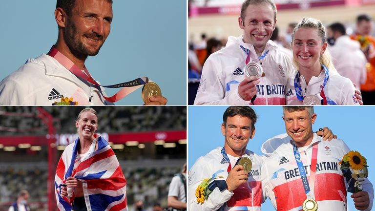 Some of Team GB's medal winners on day 11 - (clockwise) Giles Scott, Jason and Laura Kenny, Keely Hodgkinson and Dylan Fletcher and Stuart Bithell