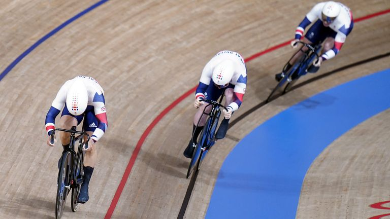 Great Britain's Ryan Owens, Jason Kenny and Jack Carlin in action in the Men's Team Sprint final