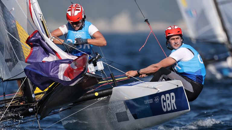 John Gimson of Britain and Anna Burnet of Britain took silver in the Mixed Nacra 17 class