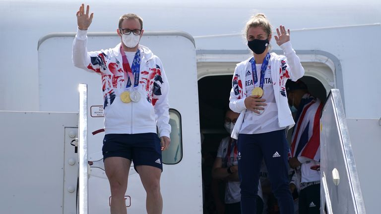 Jason Kenny returns to the UK as Britain's most successful Olympian with second gold medal overall and Laura Kenny further added to her medal collection with a gold in the madison