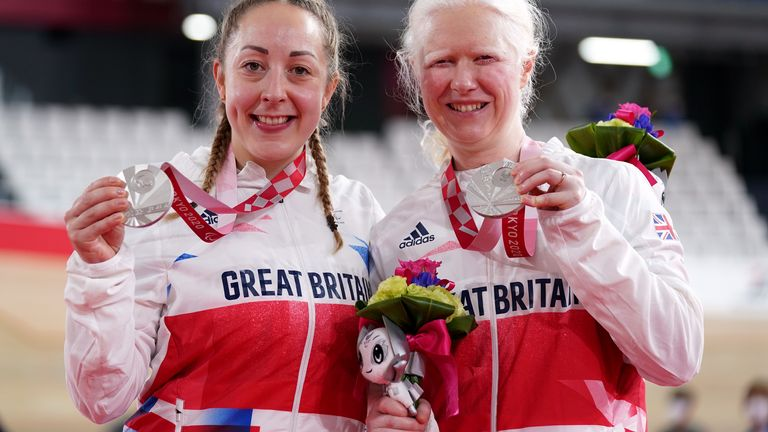 Tokyo 2020 Paralympic Games - Day Two Great Britain's Aileen McGlynn and pilot Helen Scott pose with their silver medals for the Women's B 1000m Time Trial during the Track Cycling at the Izu Velodrome on the second day of the Tokyo 2020 Paralympic Games in Japan. Picture date: Thursday August 26, 2021.  MIME type: image/jpeg Width: 5278 Height: 3767 Copyright holder: PA WIRE Copyright notice: PA Wire/PA Images Usage terms: Use subject to restrictions. Editorial use only, no commercial use witho