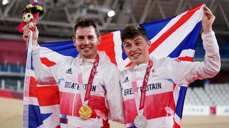 Team GB's Jaco van Gass and Finlay Graham with their respective gold and silver medals