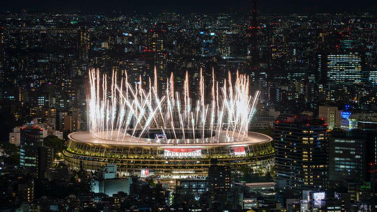 Fireworks illuminate over National Stadium during the Opening Ceremony. Pic: AP