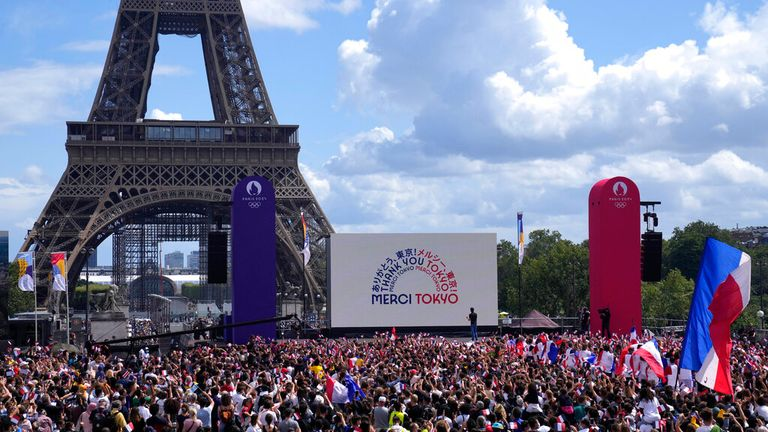 Celebrations were held in Paris as part of the handover ceremony from Tokyo to the French capital. Pic: AP