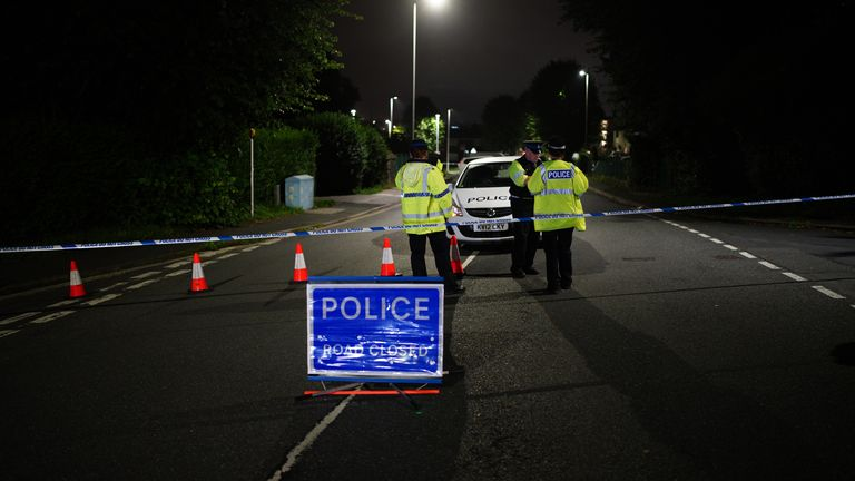 A police cordon on Royal Navy Avenue, near the scene of an incident in the Keyham area