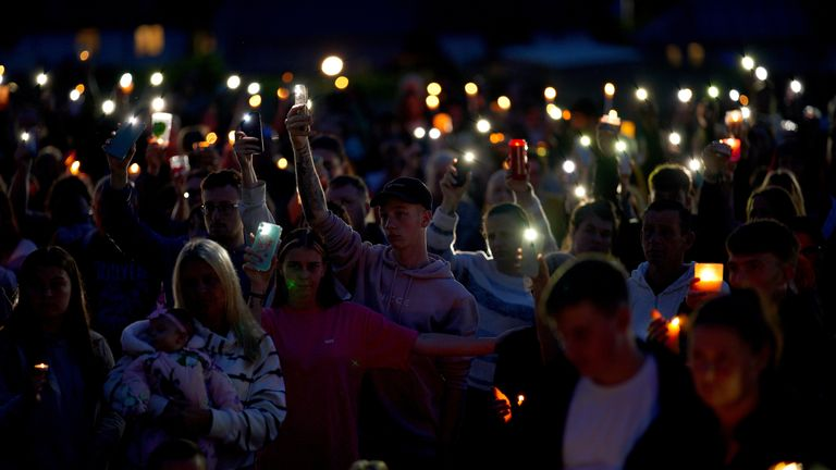 Hundreds of people attended the vigil in the Keyham area of the city
