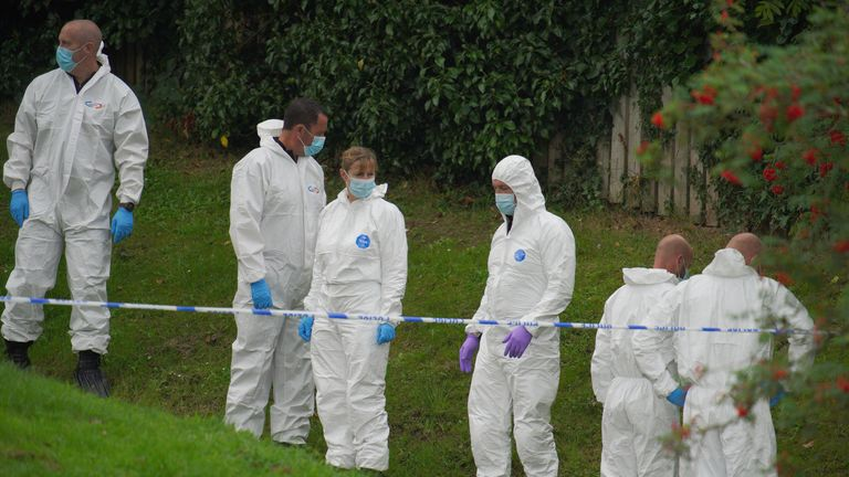 Forensic officers in the Keyham area of Plymouth on Friday