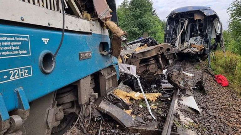 More than 40 people were injured in the crash near the western Czech town of Domazlice. Pic: Plzen Fire and Rescue