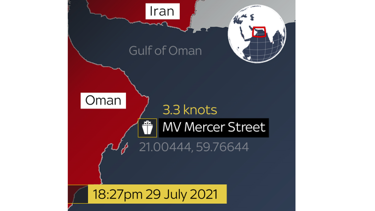 The ship's speed had dropped by 12 knots two hours later. The UKMTO reported an attack had occured at 6pm UTC.