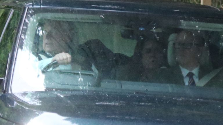Prince Andrew arrives at Balmoral. Sarah Ferguson is in the back seat. Pic Peter Jolly/Shutterstock