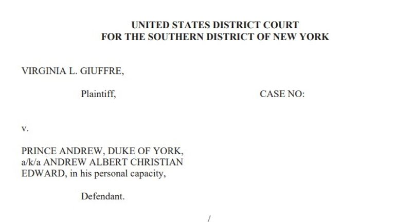 The civil suit seeking unspecified damages was filed at a federal court in New York