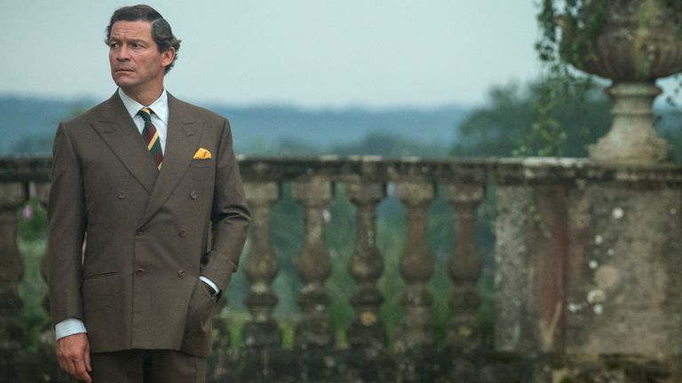 First-look image of Dominic West as Prince Charles in The Crown, season five. Pic: Netflix