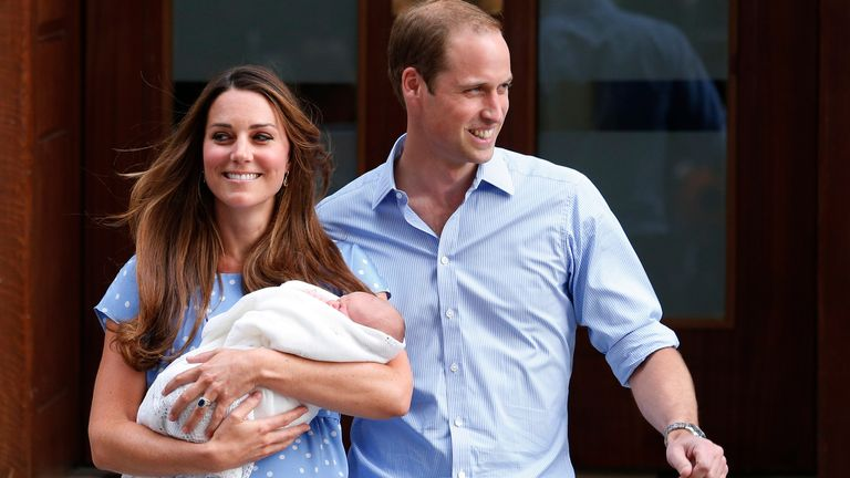 Prince William and Kate pictured with Prince George outside the Lindo Wing of St Mary's Hospital, in central London, following his birth in 2013