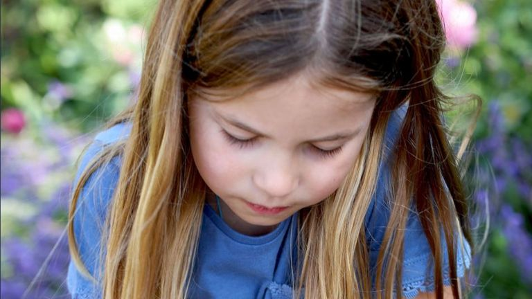 The Duke and Duchess of Cambridge have released a new picture of Princess Charlotte taking part in the Big Butterfly Count.